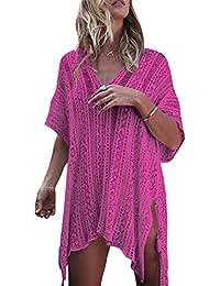 3454cb8e4e MAGIMODAC Womens Short Sleeve Swimsuit V Neck Loose Fit Knit Kimono  Beachwear Bikini Cover up Net
