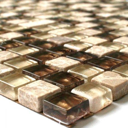 Glas Marmor Mosaik Fliesen 15x15x8mm Beige Gold