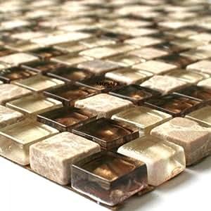glas marmor mosaik fliesen 15x15x8mm beige gold baumarkt. Black Bedroom Furniture Sets. Home Design Ideas