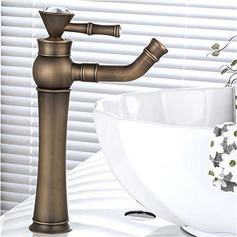 Modylee Rubinetto miscelatore lavello del bagno rubinetto antico ottone girevole bagno bacino gru calda e acqua fredda mixer