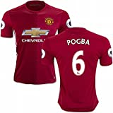 EKUJSTC-Sports 2016 2017 Manchester United FC Trikot 6 Paul Pogba LS Home Football Soccer Jersey Kit in Rosso, Uomo, Red, L
