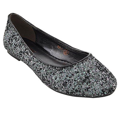 ESSEX GLAM Damen Glitzer Ballerinas Flach Klassische Brautschuhe Pumps Party Schuhe NEW BLACK GLITTER