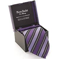 Uomo Pierre Roche cravatta, fazzoletto e Gemelli set regalo in 6stili colori