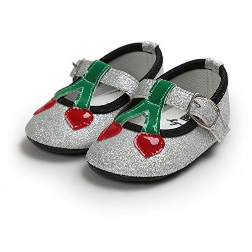 MiyaSudy 0-18 Monate Kleinkind Baby Mädchen Kirsche Pailletten Prinzessin Lauflernschuhe Silber