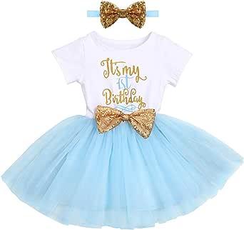 FYMNSI - Vestito da festa di compleanno per bambina, a maniche corte, in tulle, da principessa, per compleanno, fascia con paillettes, per foto