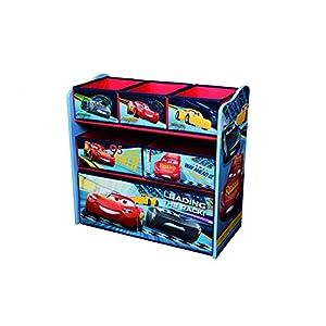 Disney Cars Cars 3 Kinderregal aus Holz mit 6 Aufbewahrungsboxen Spielzeugaufbewahrung Kinderzimmer