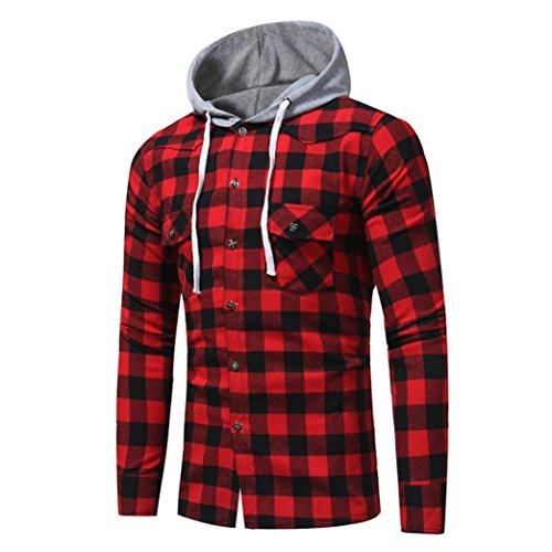 ❤️Sweatshirt Homme , Amlaiworld Tops Sweat capuche Treillis imprimé à capuche plaid Long Sleeve Blouse❤️ (XL, Rouge)