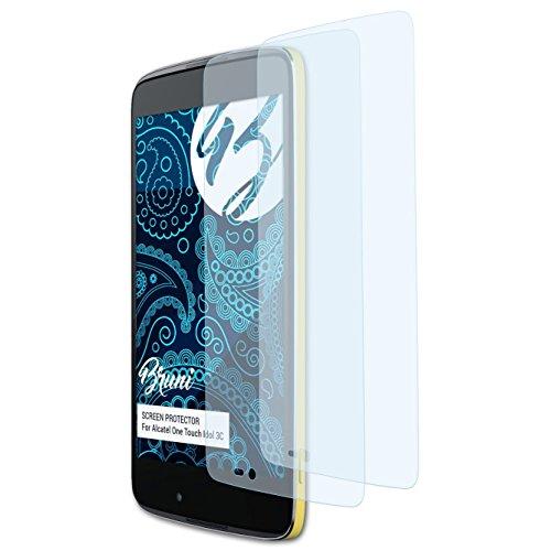 Bruni Schutzfolie für Alcatel One Touch Idol 3C Folie, glasklare Bildschirmschutzfolie (2X)