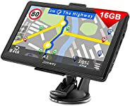 Jimwey Navigationsgerät für Auto Navigation LKW Navi 7 Zoll 16GB Lebenslang Kostenloses Kartenupdate mit Blitz