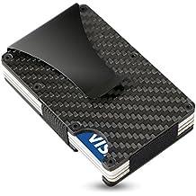 Premium Kreditkartenetui aus Carbon mit Geldklammer und 2 elastischen Bändern von SEMLIMIT. Dünne Geldbörse mit Kapazität für bis zu 20 Visitenkarten › auswechselbare Bänder
