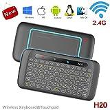 penkou Mini - Tastatur, H20 2.4GHZ Wireless Upgrade Backlit - Fernbedienung mit Touch - Pad Für Pc, Tablet Pc Smart TV - Google/Android Box/Stick (Schwarz) (H20)