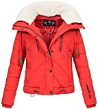 Navahoo Damen Designer Winter Jacke warme Winterjacke Steppjacke Teddyfell B605 [BB605-Zicke-Rot-Gr.S]