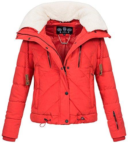 Navahoo Damen Designer Winter Jacke warme Winterjacke Steppjacke Teddyfell B605 Rot