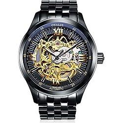 Armbanduhr, Herren, wasserdicht, Skelett, schwarzes Ziffernblatt aus Edelstahl
