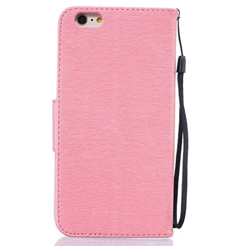 iphone6 plus Handy Tasche,iphone6s plus Handy Tasche,Fodlon® Prägung vogelfedern Retro Prämie PU Leder Flip Bookstyle Magnetverschluss Wallet Protektiv Cover Case mit Abnehmbare Hand Lanyard & Kartenf Rosa