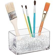 mDesign Recipiente de cristal para brochas y pinceles – Soporte relleno de perlitas para guardar material de pintor o brochas de maquillaje – Transparente – Incluye bolitas de cristal (500 gr)