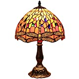 Bieye L30023 Dragonfly Tiffany Style Stained Glass Table Lamp with 12 inches Wide Handmade Lamp Shade Zinc Base for Bedside Bedroom Living Room Coffee Table, 18 inches Tall, Red Orange…