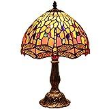 Bieye L30023 Dragonfly Lampada da tavolo in vetro colorato stile Tiffany con 12 pollici di larghezza a mano larga paralume in zinco base per comodino camera da letto soggiorno