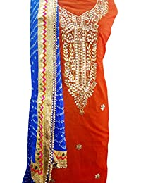 Stylesh Fabex Designer Women & Girls Ethnic Festival And Party Wear Chanderi Unstitiched Kurti With Art Silk Bandaj...
