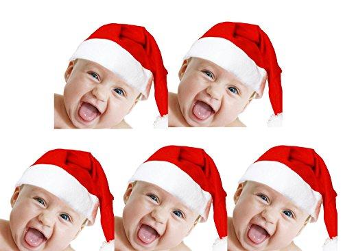 5Stück Kinder Weihnachtsmütze Nikolaus Mütze Weihnachtsmützen Xmas Mützen (Santa Claus Kostüme Für Mädchen)