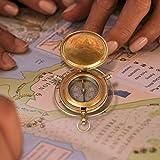 aheli fatto a mano in ottone Push Open Compass marine Brass dispositivi tasca strumento nautica navigazione