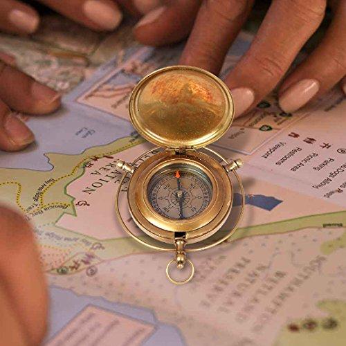 aheli faite à la main en laiton à bouton poussoir Boussole Marine Laiton appareils Poche nautique Instrument de navigation