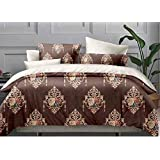 Glace Cotton Brownie Comforter Set (4 Piece Combo Set Of Brownie Comforter And King Size Bedsheet With 2 Pillow Covers)