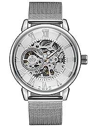 Relojes Pulsera Engranajes Huecos Escala del Numeral Romano Mecanico Relojes Hombre Correa de Malla de Acero Inoxidable Moda,…