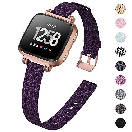 KIMILAR Armbänder Kompatibel mit Fitbit Versa/Versa 2/Versa Lite/SE Armband Stoff, Perlen Quadratische Schnalle Schlank Ersatzband Uhrenarmband für Fitbit Versa Smartwatch, Dunkelviolett