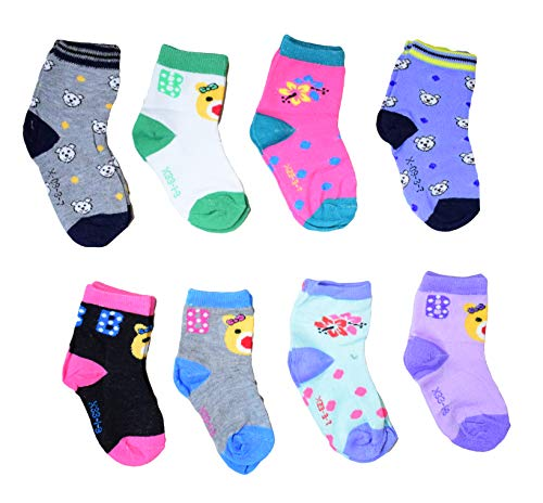 Isakaa Boy's and Girl's Fleece and Fairy Cotton Socks (2-3 Years, Small) - Pack of 8 Pairs