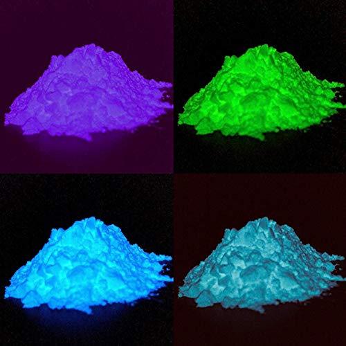Polyment GmbH Profi Premium Leuchtpulver Set mit 4 Farben - Sehr hell im Dunkeln nachleuchtendes Farbpulver. Selbstleuchtend (Blau/Grün/Blau-Grün/Lila, 52 Gramm)