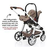 ABC Design Kombi-Kinderwagen Set Turbo 4 – inkl. 3in1 Tragewanne für Neugeborene, Liegefunktion, ausklappbarem Sonnenverdeck, Schieber höhenverstellbar, Sitz drehbar, große Räder – Bean - 5