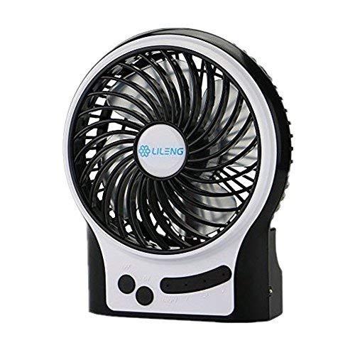 elikeable Tragbar Fan USB Mini Desktop Schreibtisch Tisch Elektrische Wiederaufladbar Fan für Laptop Raum Home Office Outdoor Travel Schwarz