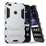 MaxKu Huawei P8 lite Hülle, Safe-Grip Outdoor Case Schutzhülle Kickstand 2in1 Hülle für Huawei P8 lite. Silber