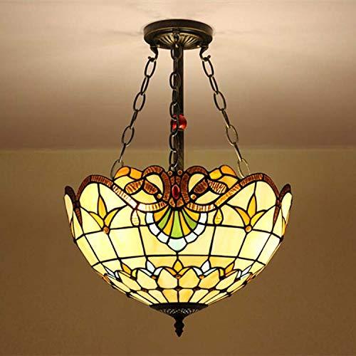 QCKDQ 16-Zoll-Kronleuchter, Tiffany-Stil Kronleuchter europäischen Retro-Anti-Top-Lampe Glasmalerei Lampe, Retro-Wohnzimmer Lampe E27,B