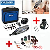 DREMEL Akku 7,2V Multitool Multifunktionswerkzeug 8100 Set - inklusive DREMEL Präzisionshandgriff, 15 DREMEL Zubehörteile, 105-tlg. SILVERLINE Zubehörset, SILVERLINE Multi-Schneidvorsatz und Aufbewahrungstasche