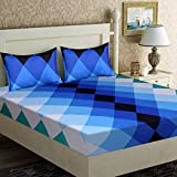 #7: Home Elite Dynamic 120 TC Cotton Double Bedsheet with 2 Pillow Covers - Floral, Blue