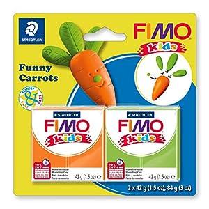 STAEDTLER 8035 14. Pasta de modelar para niños Fimo Kids Funny Carrots. 2 Pastillas de 42 Gramos.