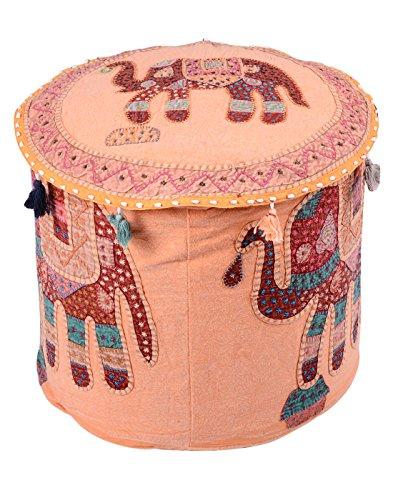 Poggiapiedi copertura Boho Décor Peach Home Decor rotonda Elephant Patchwork Pouf copertura decorativa cotone ottomano (Sedia Da Giardino Ottomano)