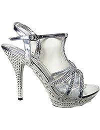 Sandale para mujer, diseño con zapatos de tacón de aguja, diseño de fiesta de matrimonio ceremonia DIAMANTE H 10-10 plateado
