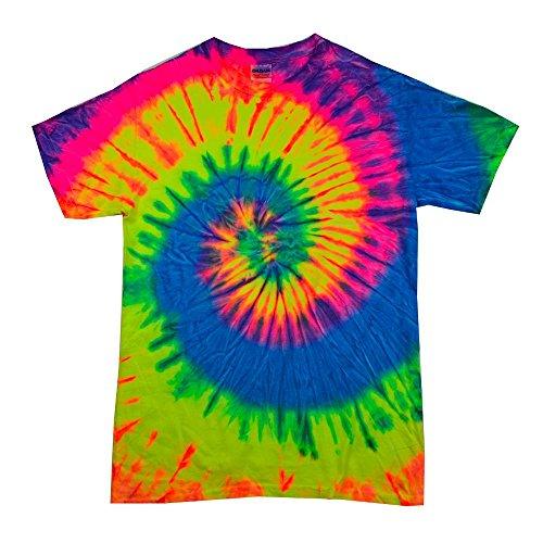Neon Rainbow Tie Dye (Colortone - Unisex Batik T-Shirt 'Rainbow' / Neon Rainbow, XL)