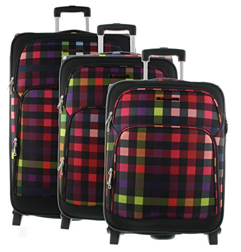 Franky Trolley Reisekoffer S / M / L / SET (verschiedene Farben) (Multi Collor Check, SET)