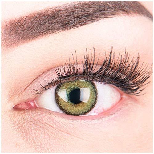 Glamlens Farbige Grüne Kontaktlinsen Mirel Green Stark Deckende Natürliche Silikon Comfort Linsen - 1 Paar (2 Stück) Mit Stärke -4.25 Dioptrien