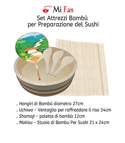 Set attrezzi bambù per preparazione del sushi - hangiri, ventaglio sushi, stuoia bambù sushi, spatola di bambù sushi