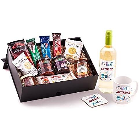 60anni compleanno, con Unico Idea regalo per qualsiasi sessantesimo compleanno. include 60anno vecchio nel mondo di vino, Tazza e Sottobicchiere migliore per fare un regalo speciale per lui o lei.