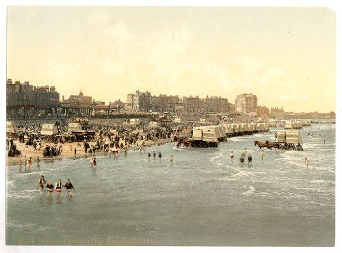 Viktorianische Meerblick Damen Badeanzug und Ort, Margate, Kent, England, groß, Größe: A3 41 x 28 cm, auf Leinwand; texturiertes Papier Photo (England Badeanzug)