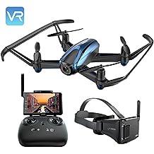 UDIRC Drone VR con Cámara Profesional HD, Drone RC Wifi, Función de Suspensión de Altitud, Modo sin Cabeza, Alarma de Fuera de Vuelo , Monitor de Pantalla FPV LCD 5.8Ghz