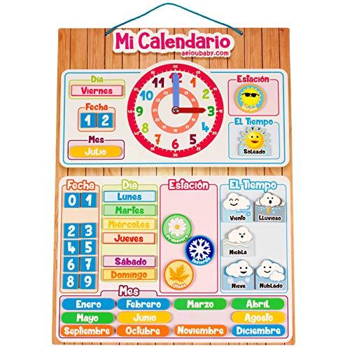 CALENDARIO RELOJ Magnético Infantil, Juego Educativo Fecha Tiempo y Hora para Pared...