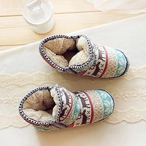 ZZHH Zapatillas Navidad ciervos familia viento algodón super suave esponjosa de trenzas cachemir cálido piso botas botas calzado casa . 38-39
