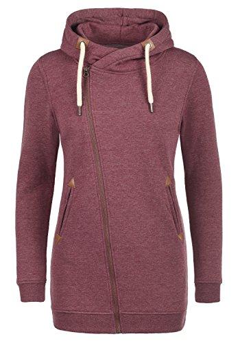 DESIRES Vicky Zip Hood Long Damen Lange Sweatjacke Kapuzenjacke Sweatshirtjacke Mit Kapuze Und Fleece-Innenseite, Größe:XS, Farbe:Wine Red Melange (8985) (Kleid Pullover Red)